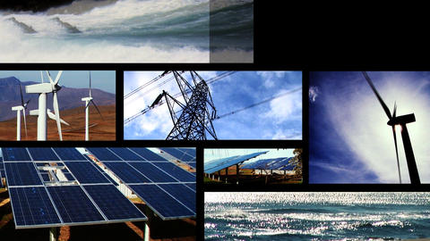 Collection of clean energy images in a motion montage Stock Video Footage