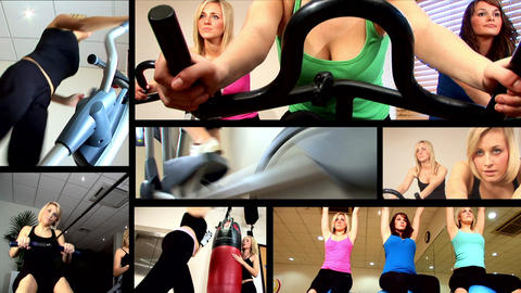 Collection of attractive girl working out at the gym Stock Video Footage