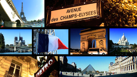 Collection of images from the European city of Paris in a collage Footage