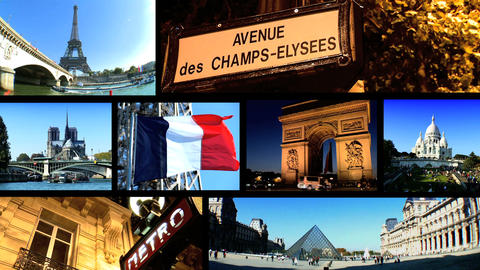 Collection of images from the European city of Paris in a... Stock Video Footage