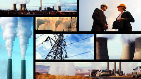 Montage of clips showing sources of heavy pollution Footage