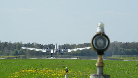 historic airplane Junkers JU 52 landing 10919 Stock Video Footage
