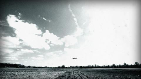 BW historic airplane Junkers JU 52 landing wide 10921 Stock Video Footage