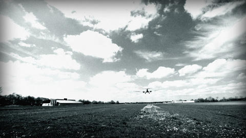 BW historic airplane Junkers JU 52 landing wide 10921 Stock Video Footage