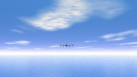 Flying plane upon the ocean Stock Video Footage