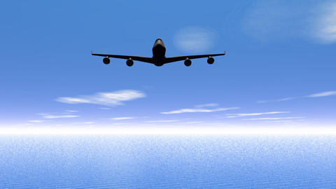 Flying Plane Upon The Ocean  stock footage