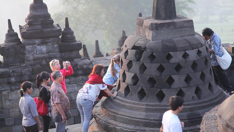 Picture with buddha in borobudur temple Footage