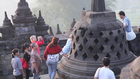 Picture with buddha in borobudur temple Stock Video Footage