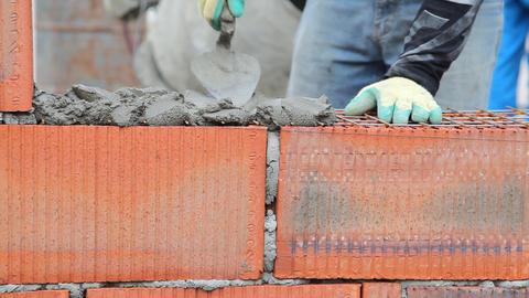 Brick installation Stock Video Footage