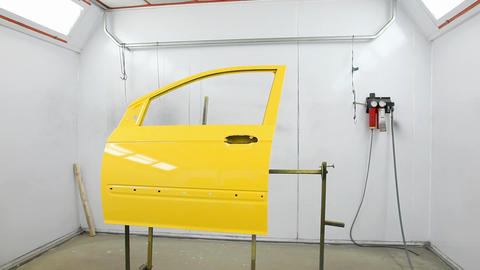 Car's door into painting camera Stock Video Footage