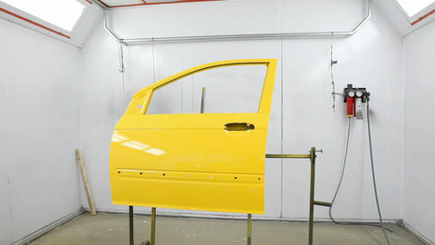 Car's door into painting camera Footage