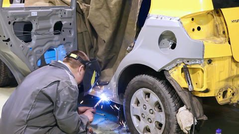 Welding of a car Stock Video Footage