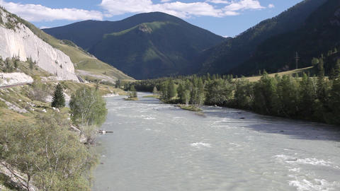 Mountain rivers Chuya and Katun in Russian Altai Stock Video Footage