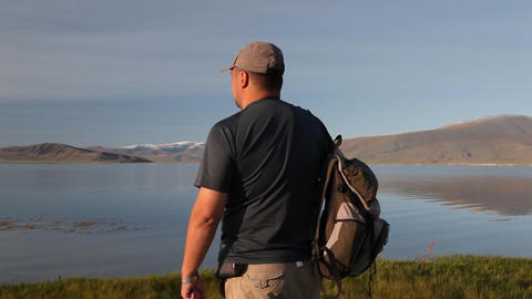 Mountain Hiking in Mongolian Altai at Dayan Nuur lake Footage