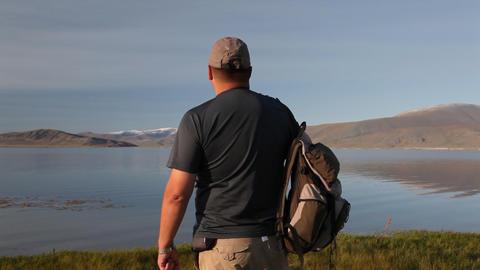Mountain Hiking in Mongolian Altai at Dayan Nuur lake Stock Video Footage