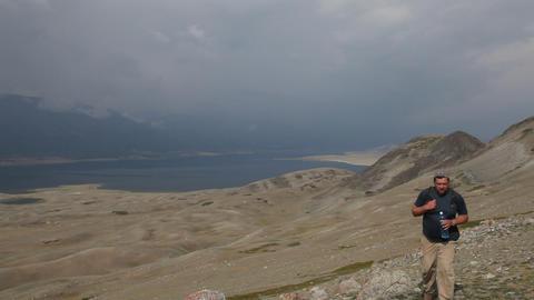 Mountain Hiking in Mongolian Altai at Khoton Nuur lake Stock Video Footage