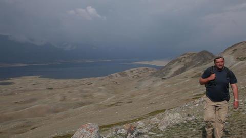 Mountain Hiking in Mongolian Altai at Khoton Nuur lake Footage
