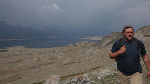 Mountain Hiking in Mongolian Altai at Khoton Nuur lake Stock Video Footage