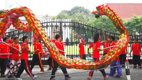 Dancing people in Jogjakarta city Stock Video Footage