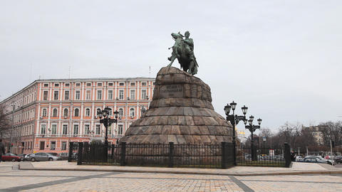 Monument to Bohdan Khmelnytsky in Kiev Footage