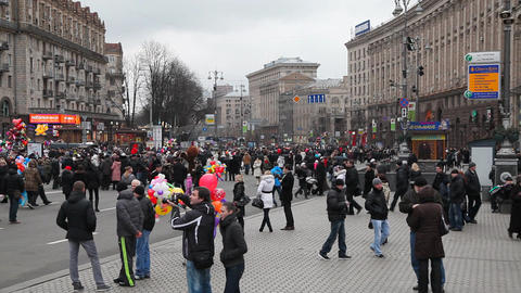 Kreschatik street in Kiev Footage