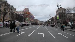 Kreschatik street in Kiev Stock Video Footage