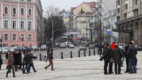 Mikhailovsky Square in Kiev Stock Video Footage