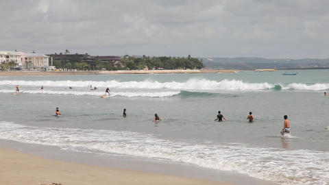 Surfers on the Kuta beach Footage