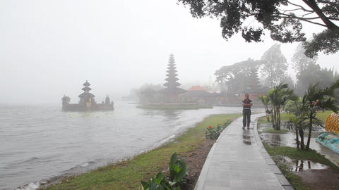 Pura Ulu Danau Temple on Beratan lake Stock Video Footage