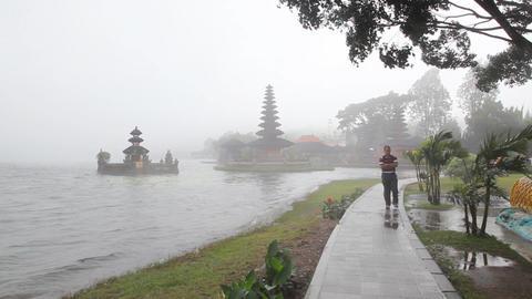 Pura Ulu Danau Temple on Beratan lake Stock Video Footage