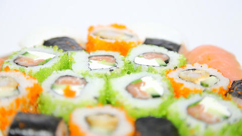 Turning Sushi stock footage
