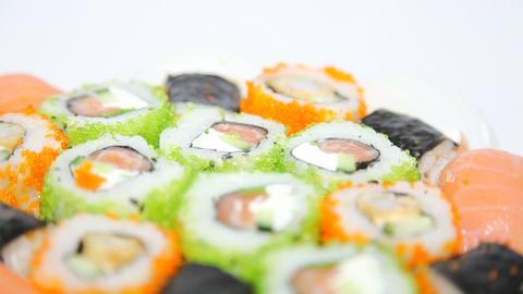 Turning Sushi Stock Video Footage