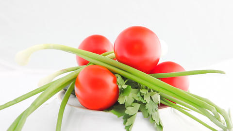 Turning vegetables HD Stock Video Footage