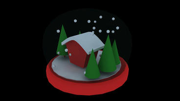 Rotation Of 3D Christmas Crystal Ball.sphere,shiny,House,tree,pine,cedar,snow,winter,season,Christma stock footage