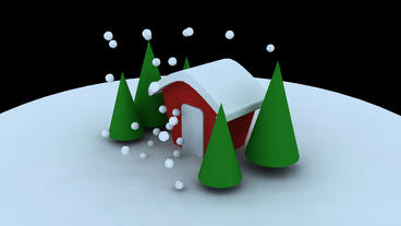 Rotation of 3D Christmas House and... Stock Video Footage