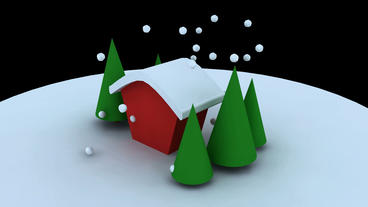 Rotation of 3D Christmas House and tree.shiny,pine,cedar,snow,winter,season,Chri Animation