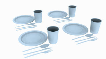Rotation of 3D Tableware.dishware,fork,restaurant,dinner,knife,plate Animation