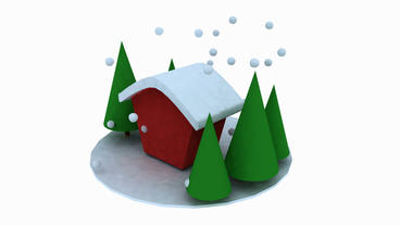 Rotation of 3D Christmas House and tree.shiny,pine,cedar,snow,winter,season,Chri Animation