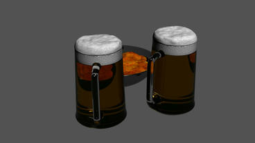 Rotation of 3D beer and Potato chips.alcohol,drink,lager,gold,froth,beverage,liq Animation