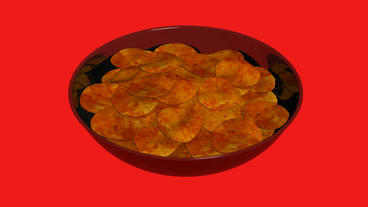 Rotation of Potato chips.food,unhealthy,pile,snack,fried,crunchy,tasty,crispy,ca Animation