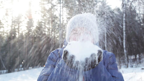 Blowing snow flakes Stock Video Footage