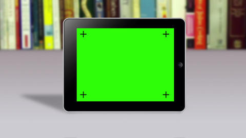 Tablet With Green Screen Slideshow stock footage