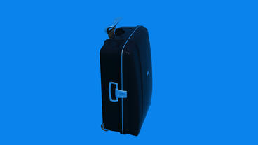 Model with handle of travel suitcase Stock Video Footage