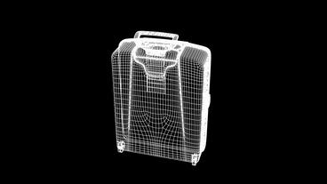 Model with handle of travel suitcase,Grid,mesh,sketch,structure Animation