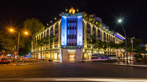 4k - SAIGON REX HOTEL - TIMELAPSE Stock Video Footage