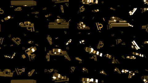 Looping Silver and Gold Zodiac Libra Symbols Falling Stock Video Footage