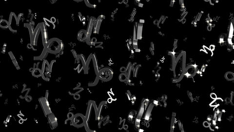 Looping Silver and Gold Zodiac Capricorn Symbols Falling Stock Video Footage