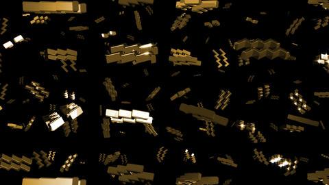 Looping Silver and Gold Zodiac Aquarius Symbols Falling Stock Video Footage