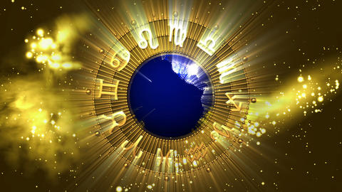 Golden Astrology Zodiac Signs and Planet Earth Animation