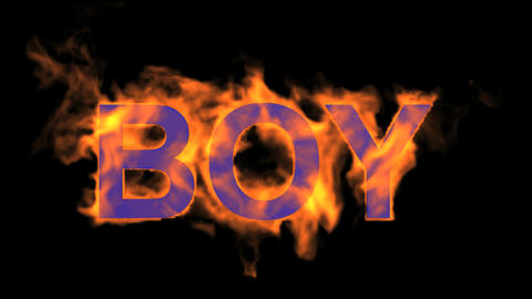 flame boy word,fire text Stock Video Footage